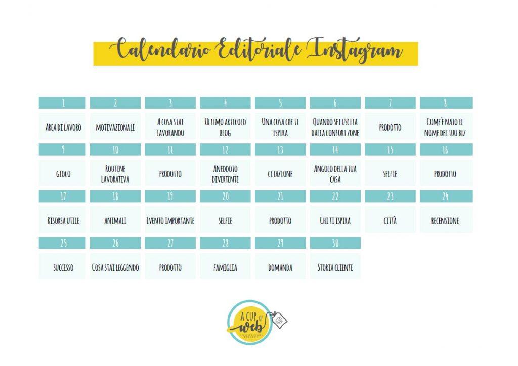 calendario editoriale instagram