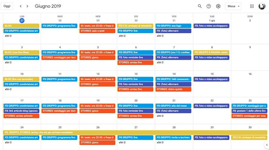 esempio piano editoriale con google calendar