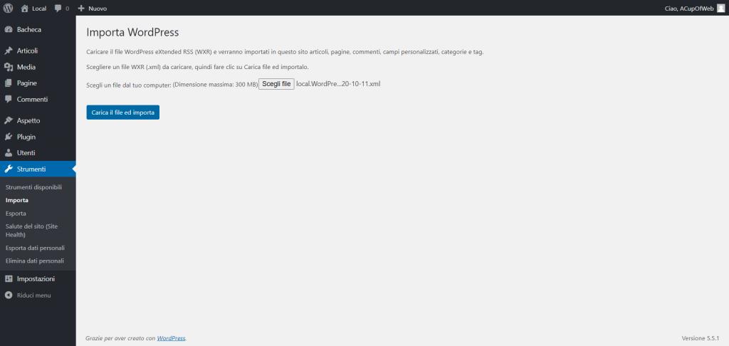 Come caricare il backup degli articoli da WordPress.com