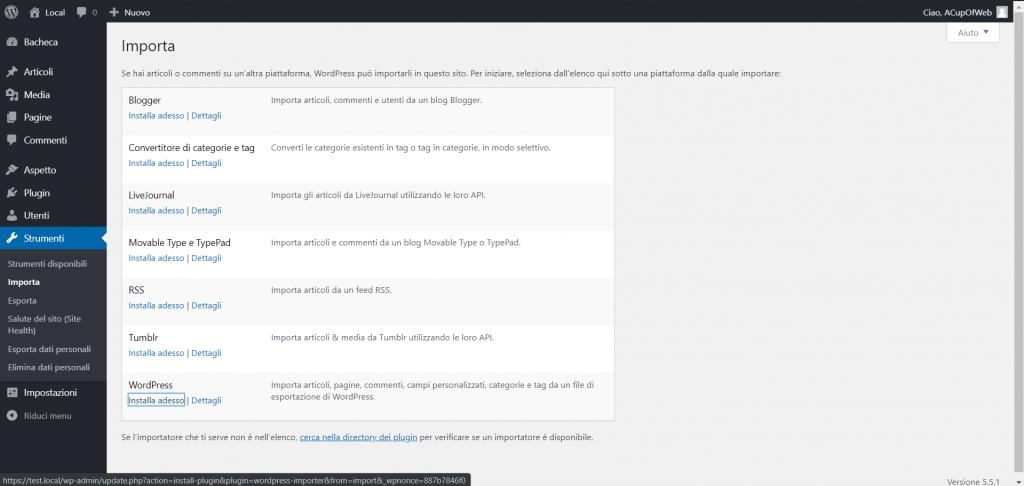 Importare articoli da WordPress.com