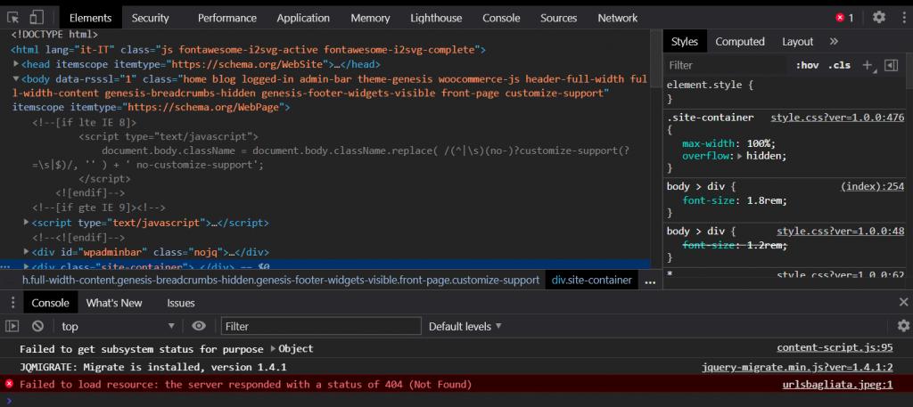Un'immagine dell'inspector di Chrome che mostra un errore